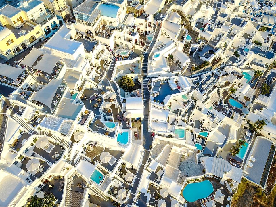 サントリーニ, 市, ギリシャ, 観光, 休日, 風景, ネイチャー, 水, 熱, 自然, ビュー, 太陽