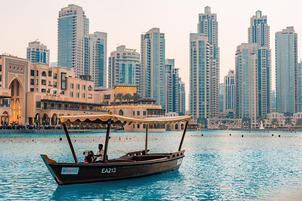 Downtown, Dubai, Uae, Tourismus, Stadt, Leute