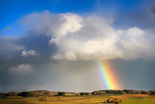 Rainbow, Cloud, Evening Sun, Rain