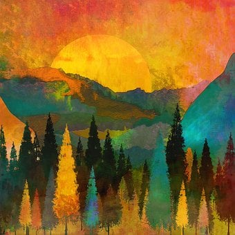 Trees, Mountains, Sun, Sunrise, Warm