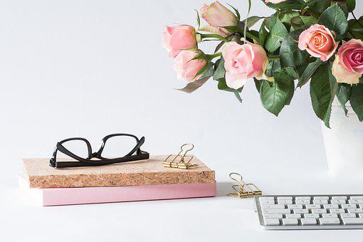 Office, Glasses, Rose, Business, Woman