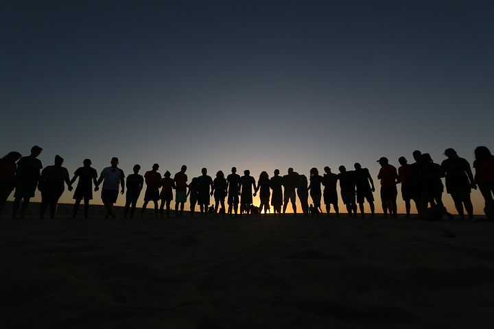 人, 友人同士, 一緒に, ハッピー, 子供, 兄弟, 若い, グループ, 愛
