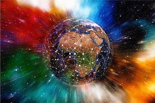 ネットワーク, 地球, ブロック鎖, グローブ, デジタル化, 通信, 世界中