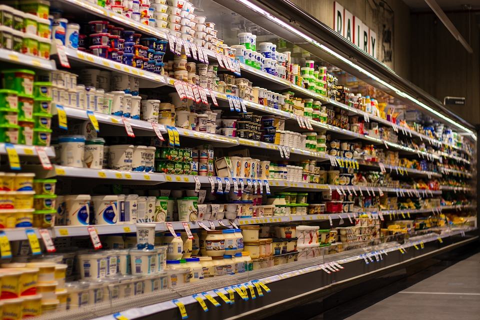 Supermarché, Plateau, Flou, Yogourt, Le Lait, Shopping