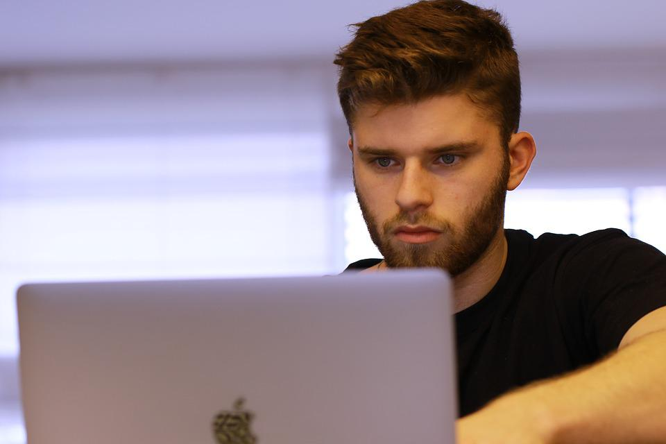 Young Man, Student, Studying, Learning, Laptop