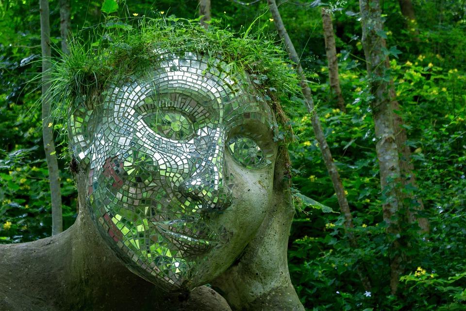 Sculpture, Plante, Miroir, Vert, Face, Art, Pierre