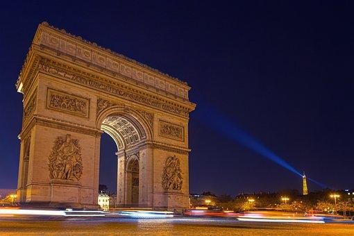 パリ, 凱旋門, 夜, エッフェル塔, ライト, 長期的には, 長時間露光