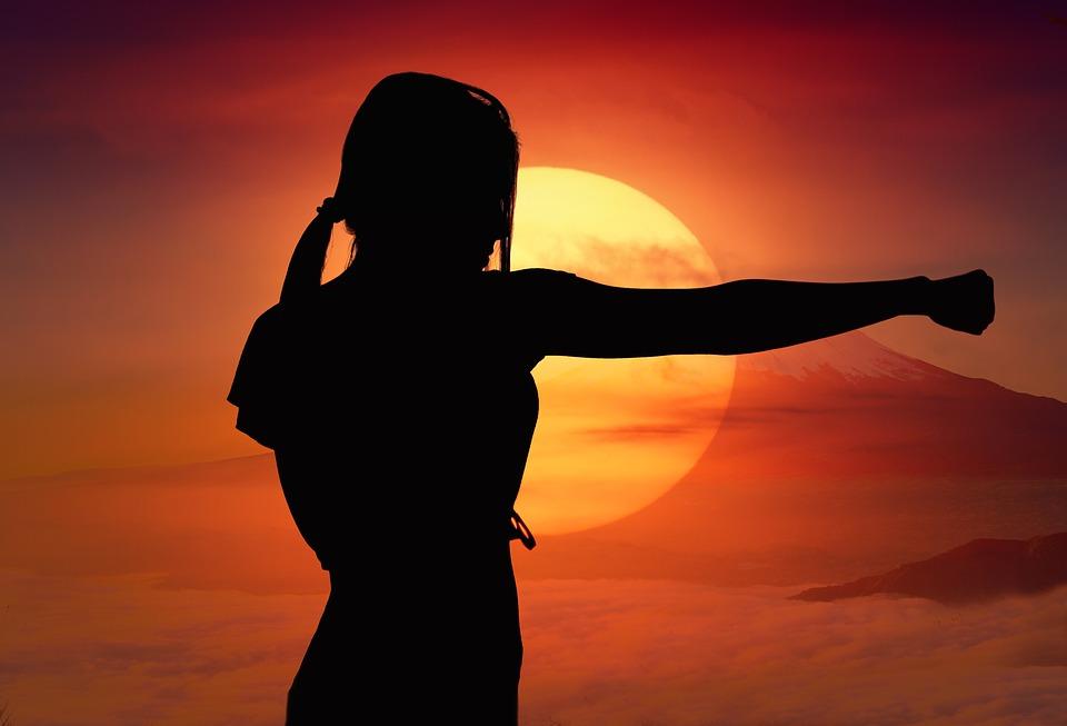 Karate, Sun, Hora, Západ Slunce, Boj, Sport, Silueta