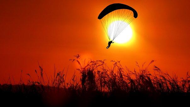 Sunset, Paragliding, Sky, Parachute