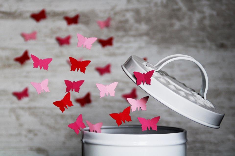 Schmetterling, Papier, Fliegen, Dose, Deckel, Schwebend