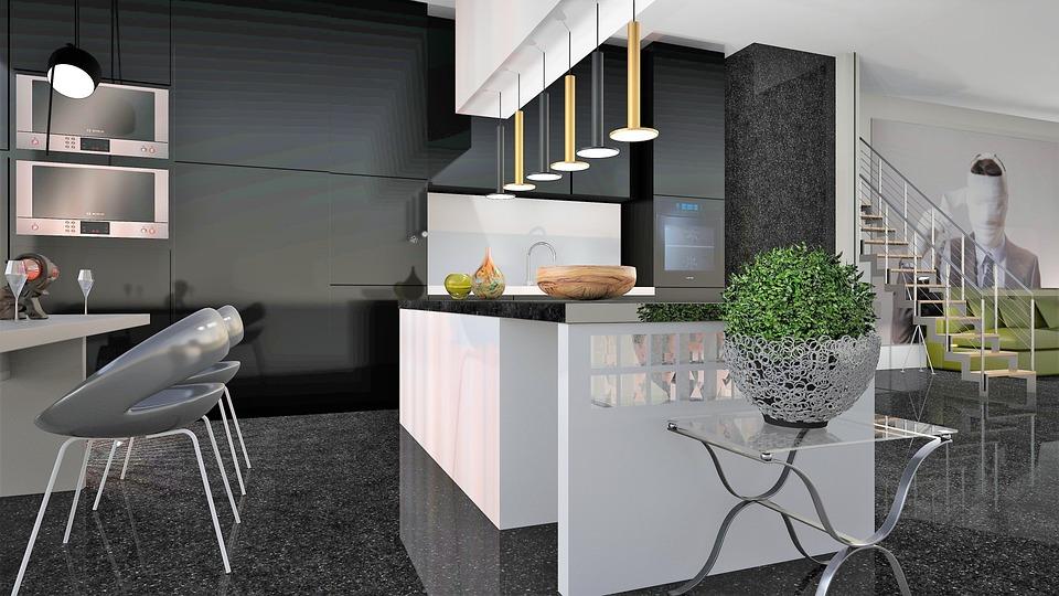 大理石, 椅子, キッチン, 現代の, 照明, 階段, 現在の, 高級, 島, デザイン, 家具, 部屋