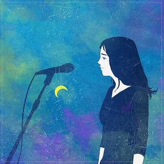 Fantasy, Microphone, Singer, Moon, Music