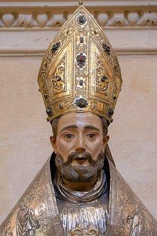 Medieval Statue, Wooden, Bishop, apostolic succession