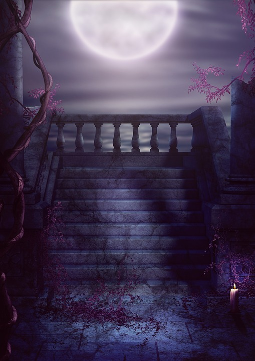 Fantasy, Balcony, Stairs, Moon, Gothic, Old, Darkart