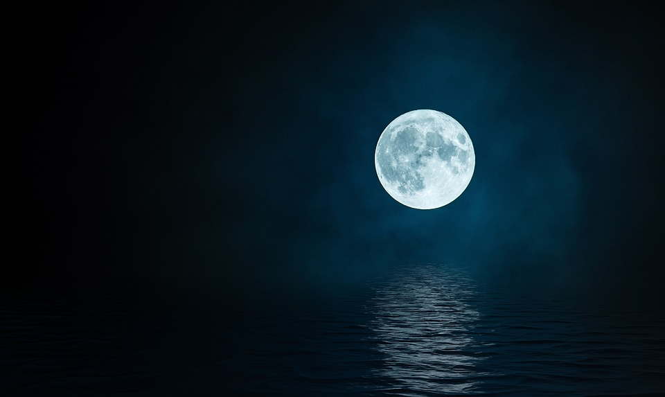 Luna, Reflection, Night, Landscape, Nature, Great