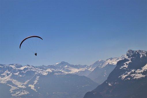降落伞, 极端, 阿尔卑斯山, 自由, 上衣, 航班, 山, 孤独, 舞台, 高