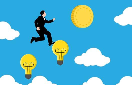 リッチ, アイデア, 実業家, 光, 交流, 電球, お金, 投資, ビジネス