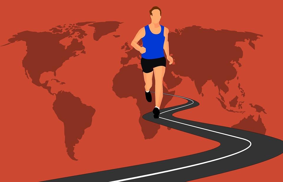 マラソンをする男性