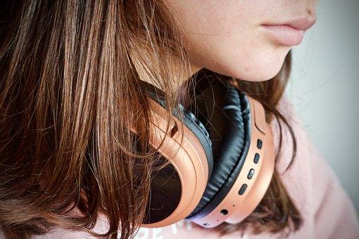 音楽, ヘッドフォン, 無線式ヘッドホン, 聞く, 技術, 若い, 女の子