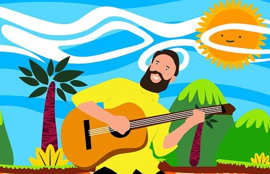 Spielen, Gitarre, Musik, Mann, Sonne