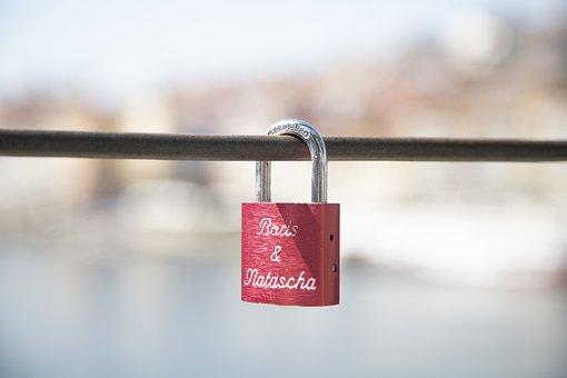 南京錠, 赤, 旅行, 愛, 永遠, ロマンス, カップル, 約束, 恋愛中です