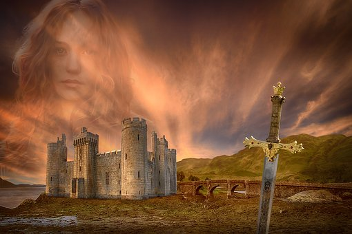 Castle, Sunset, Clouds, Medieval