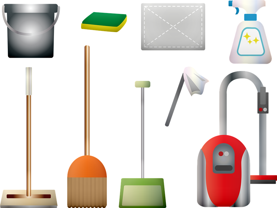 Janitorial Services Companies use Cleaning Supplies, Vacuum, Broom, Duster, Sponge