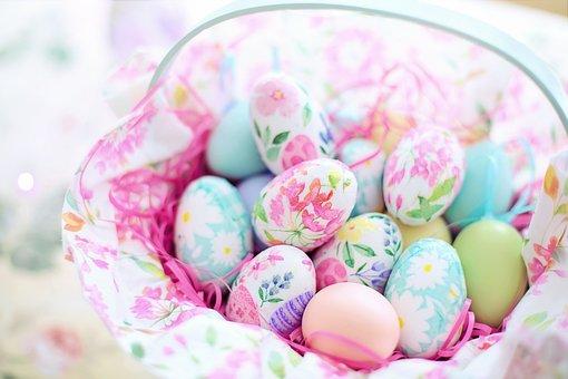 イースター, バスケット, 卵, デコパージュの卵, 春, カラフルです