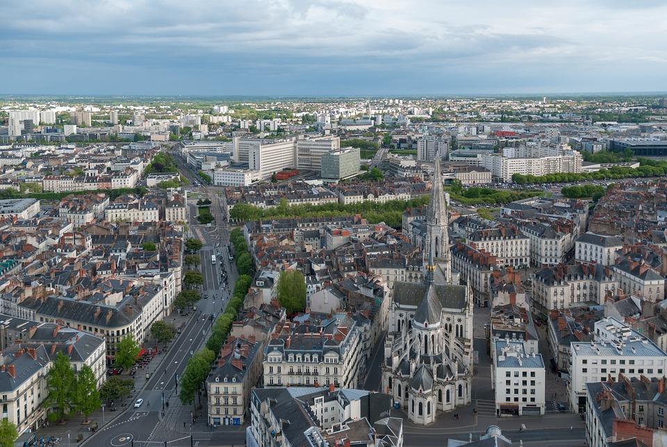 Paysage, Ville, Urbain, France, Nantes, Hauteur