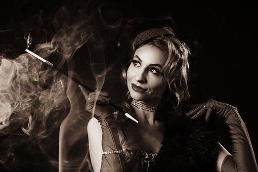 煙, タバコ, 喫煙, マウスピース, 古写真, ヴィンテージ写真, 映画