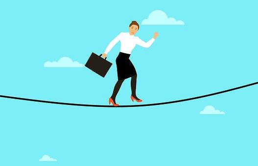 リスク, バランス, 綱渡り, ビジネス, 女性, サーカス, 人