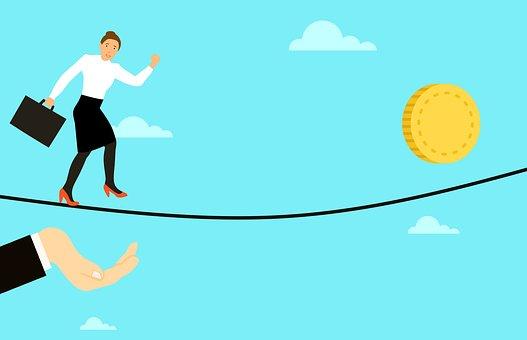 投資, 保険, リスク, バランス, 綱渡り, ビジネス, 女性, お金