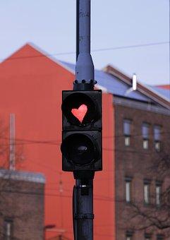 信号, 心号, 交通の光の中心, 光信号, Road, 交通信号, 道路標識