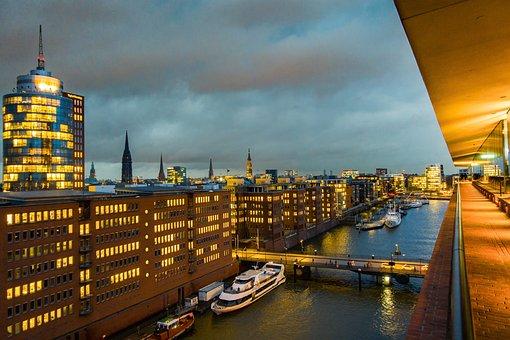 Hamburg, Stadt, Schiffe, Häuser
