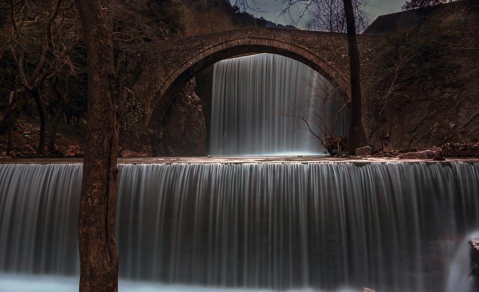 Waterfall, River, Bridge, Water, Nature, Stream
