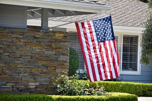 Flag, American, Home, House, Usa