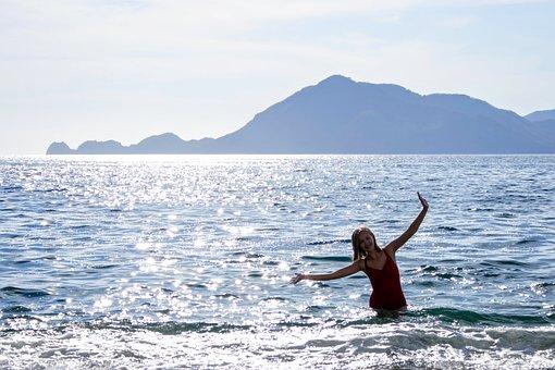 Beach, Mountain, Water, Silhouette, Girl