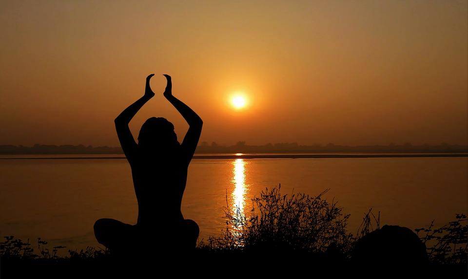 Puesta De Sol, Yoga, Mujer, Zen, Meditación, Naturaleza