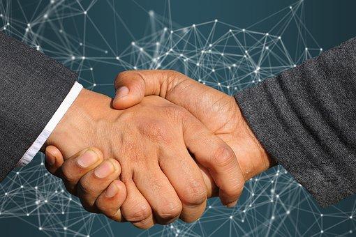 ビジネス, 契約, ハンドシェイク, 企業, 協力, パートナーシップ