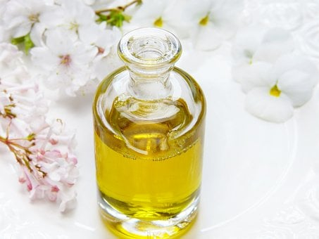 Glass, Bottle, Oil, Wellness, Flowers