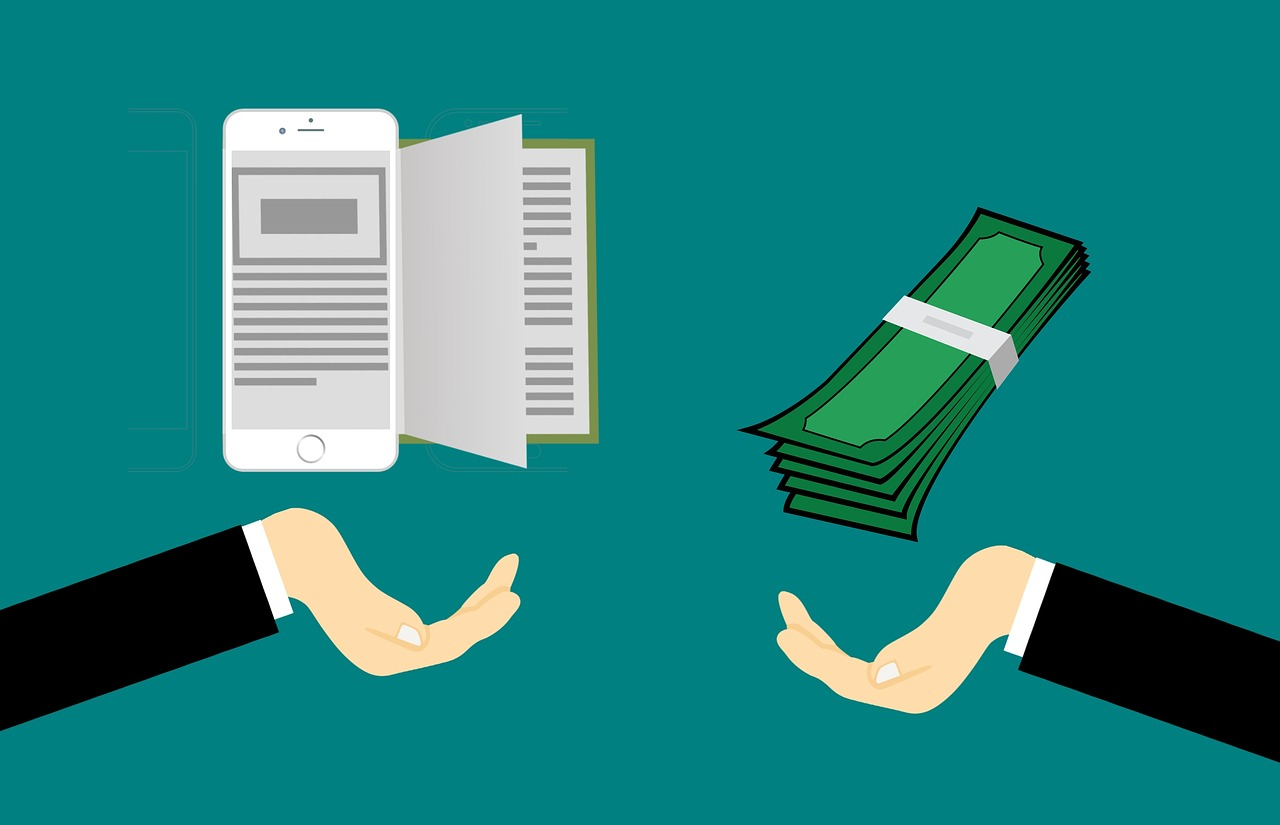 Two hands enter the screen, one from each side of the image. One is holding a smartphone which has a book spilling out of the side, the other has a pile of paper currency which is being offered in exchange.
