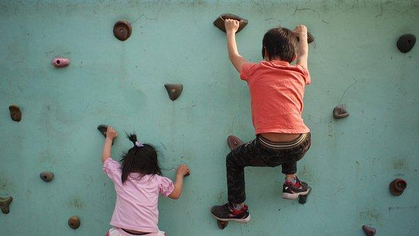 背中, 努力, 子供, ウォールクライミング, 公園, 遊び