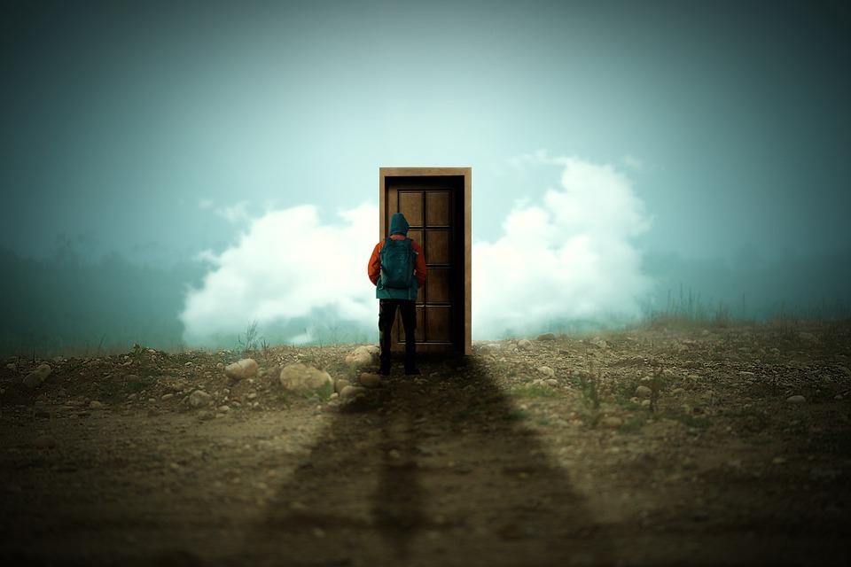 男, ドア, 雲, 風景, マジック, ファンタジー, 秘密
