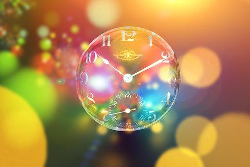 时钟, 散景, 超时时间, 肥皂泡沫, 放松, 放宽, 关掉, 空闲, 空