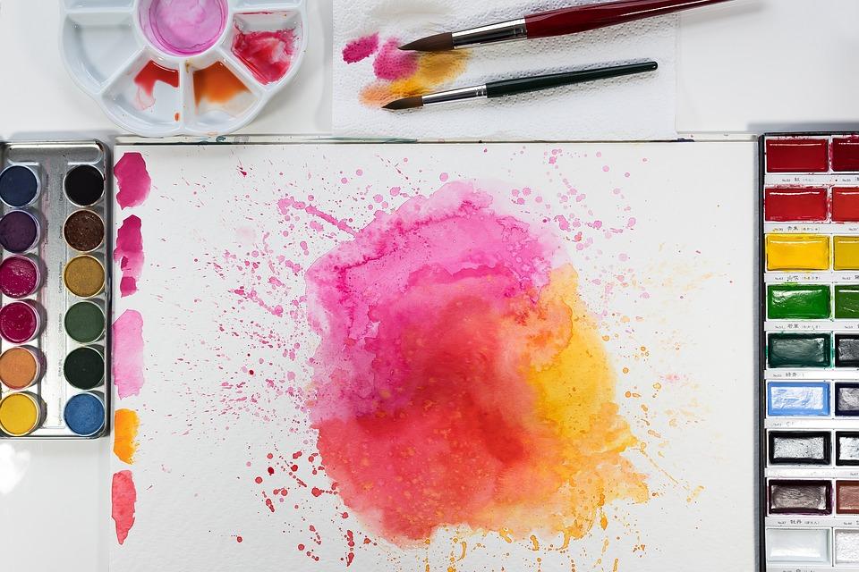 Alkotások, Sárga, Narancssárga, Rózsaszín, Kefe