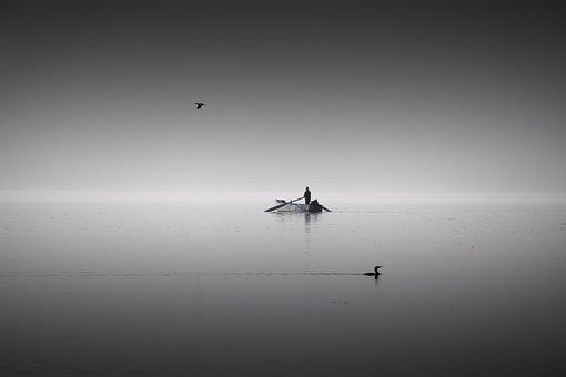 Black, White, People, Lake, Bw, Light