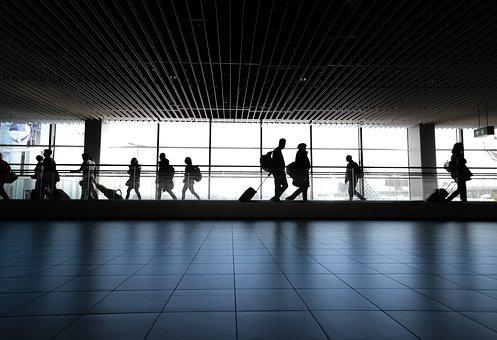 空港, 人, 徒歩, 待っています, ゲート, 女性, 市, 都市, 旅行
