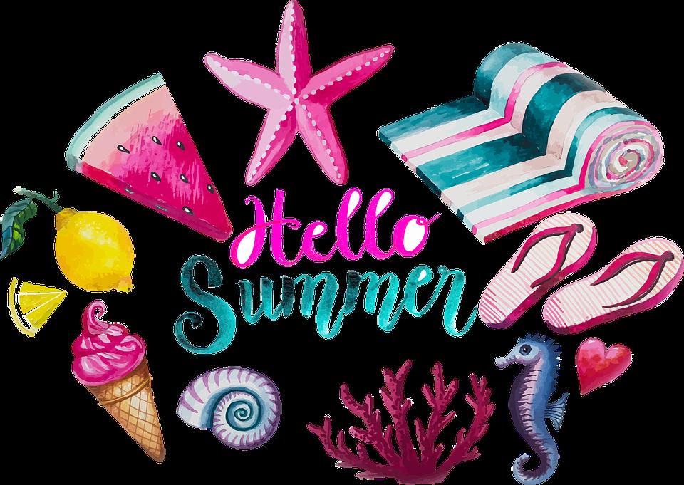 水彩画, 夏, スリッパ, フリップフ ロップ, 氷, 海の動物, 果物, カラフル, ピンク, ターコイズ