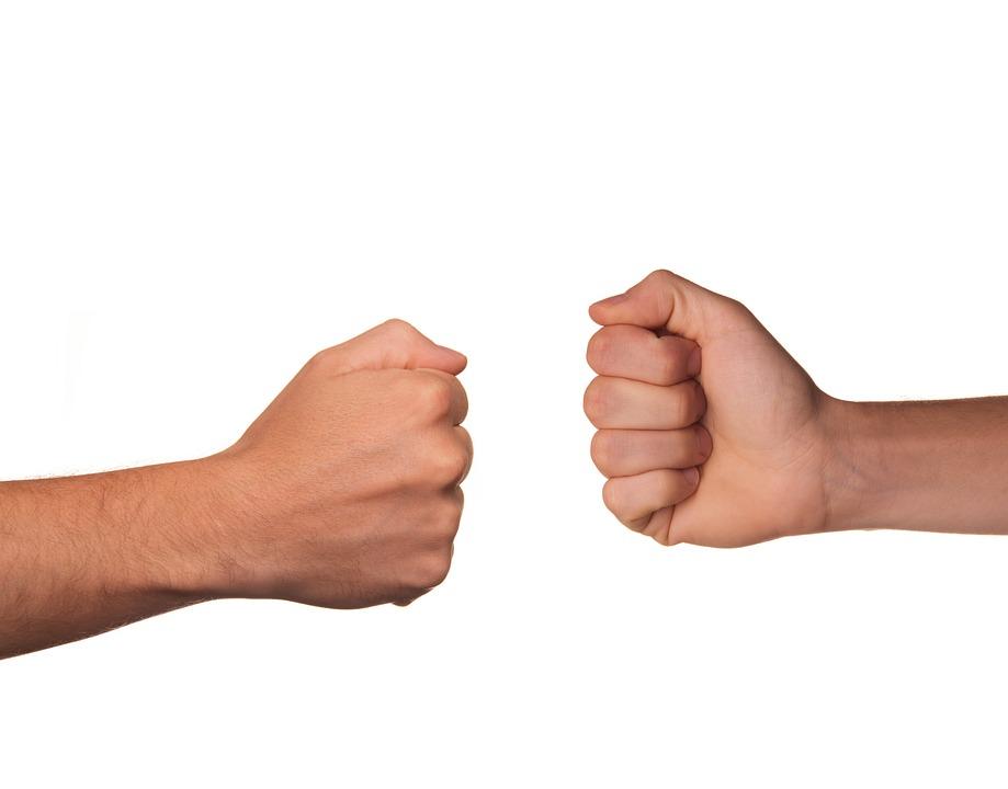 戦い, 石, 紙, シザー, 対立, 反対します, ライバル, 拳, ヒット, ビート