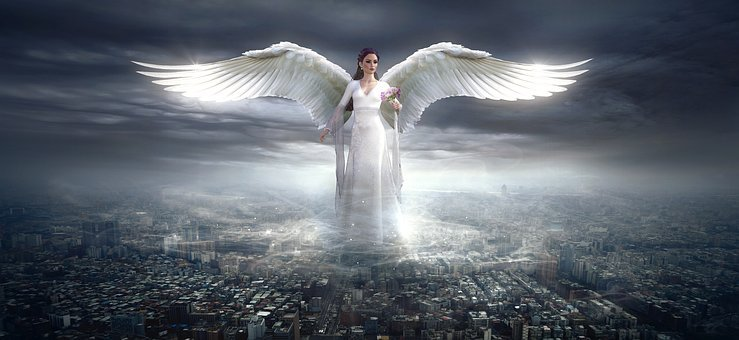Fantasy, Angel, City, Light, Clouds